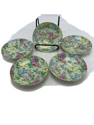 Rare Vintage Empire Ware Chintz Lilac Time Set Of 5 Saucers 4 1/2