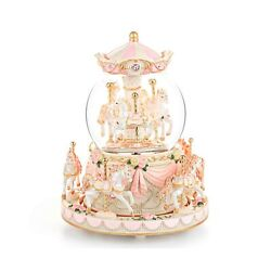 Carousel Snow Globe Gift Music Box With Light 8-horse Windup Musical Christm...