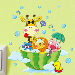 Cartoon Animals Removable Decals Wall Stickers Home Decoration Bathroom Decor