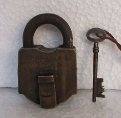 Vintage Old Brass Solid Heavy 7 Lever Padlock Collectible