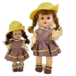 Nancy Ann Nasb Vintage Muffie And Debbie Sister Dolls Matching Outfits