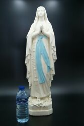 † Bvm Our Lady Of Lourdes Plaster Chalkware Marked Puccini Virgin Mary France †