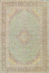 Antique Light Green Floral Traditional Area Rug Wool Oriental Hand-knotted 10x13