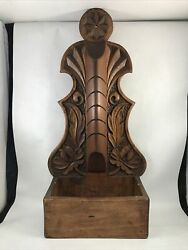 Carved Wooden Wall Box Shelf Handmade Floral Design Mail Slots 20 Rustic