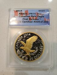2014 Silver 20 Canadian Bald Eagle Guilded First Release Anacs Pr70 Dcam