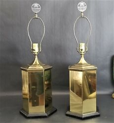 2 Vintage Brass Asian Chinoiserie Hexagon Cannister Ginger Jar Table Lamps