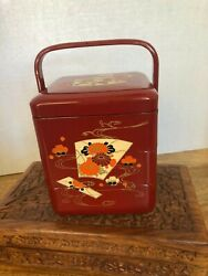 Vintage Japanese Lacquer 3 Tiered Bento Box With Handleandnbsp
