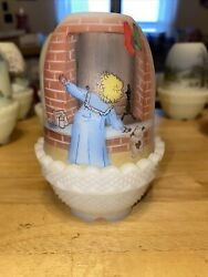 Vtg 1984 Fenton Glass Fairy Lamp Anticipation Handpainted And Numbered