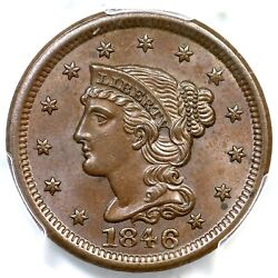 1846 N-8 Pcgs Ms 65 Bn Sm Date Braided Hair Large Cent Coin 1c