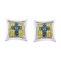 0.85 Ct Round Cut Blue And Yellow Diamond 14k White Gold Stud Earrings
