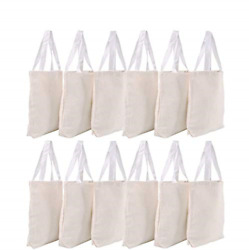 Canvas Tote Bags Bulk 12 Pack 13quot;x11quot; Fabric Blank Tote Bags Natural Cotton $25.37