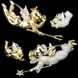 Mazer Wuyts Gold Pave Pair Of Whispering Angel And Devil Pins And Clip Earrings Set