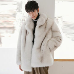 Real Fox Fur Jacket Men's Mid-length Grade Whole Leather New Fur One Coat Tide