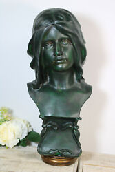 Antique French Chalkware Green Patina Bust Statue Art Nouveau Lady