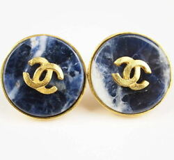 Authentic Vintage From 1995 Cc Blue Stone Earrings