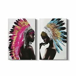 Framed Native American Decor Wall Art Set, Beautiful Feathered African Indian...