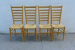 4 Gio Ponti Style Exaggerated Ladder Back Dining Chairs Wood Frame Rush Seat Vtg