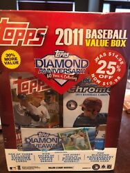 2011 Topps Update Value Box W/ 5 Packs + Bowman Chrome Hobby Packs Trout Rc Year