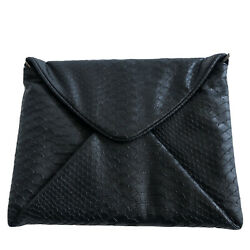 Kate Landry Black Evening Bag Clutch Magnetic Envelope with Chain $11.81