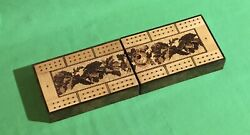 Old Antique Tunbridge Ware Playing Cards Cribbage Board Card Game Wooden Box