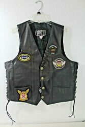 Leather Biker Motorcycle Lined Vest With Patches Canadian Flag Navy Indian Head
