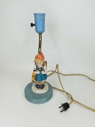 Goebel Hummel Table Light Lamp Girl With Umbrella And Backpack Unmarked