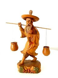 Asian Carved Wood Fisher Man Figure Chinese Collectible Ornament Statue 8 Vtg