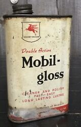 Vintage 1 Pint Mobil Gloss Tin Can Socony Vacuum Oil Gas Station Advertising