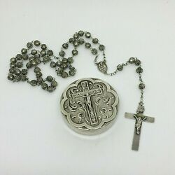 Vtg Sterling Silver Rosaries Box W/ Rosary Viana Beads Religious Crucifix Jesus