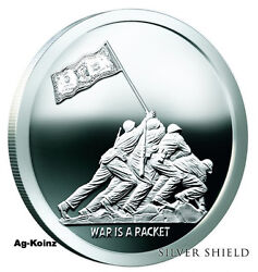 1 Oz 2017 War Is A Racket Proof Monumental Truth Series 1- Silver Shield 999 Ag
