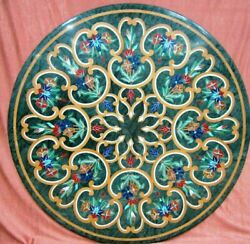 30and039and039 Center Coffee Round Marble Table Top Antique Inlay Malachite Room Decor G13