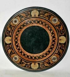 24and039and039 Center Coffee Round Marble Table Top Inlay Antique Malachite Room Decor G17