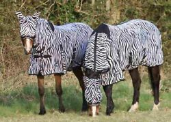 Zebra Print Horse Fly Rug All In One Belly And Tail Flap Elastic Neck Free Mask