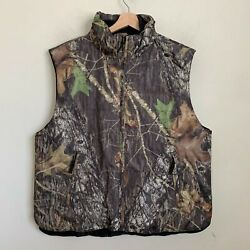 Port Authority Mens Vest Green Camo Multi Full Zip Pockets Insulated Lined Sz Xl