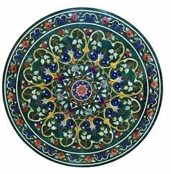 2and039x2and039 Marble Table Top Antique Inlay Center Coffee Round Malachite Room G29