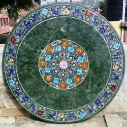 30and039and039 Marble Table Top Antique Inlay Center Coffee Round Malachite Room Decor G32