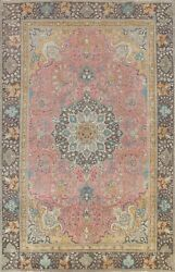 Floral Semi-antique Pink Traditional Area Rug Wool Handmade Oriental Carpet 8x11