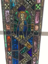 Antique German Stained Glass Church Angel Window From A Closed Church - X12