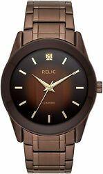 Relic By Fossil Men's Rylan Quartz Stainless Steel Diamond Accent Watch Brown
