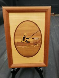 """Vintage Hudson River Inlay Wooden Marquetry """"fishing """" By Jeff Nelson"""