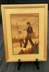 Vintage Hudson River Inlay Wooden Marquetry Father And Son By Jeff Nelson