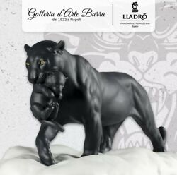 Lladró Porcelain Lladro. Animal, Sculpture Panther Black With Puppy