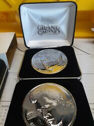 2 Silver Plated Grand Casino Elvis Presley 25th Anniversary Coins