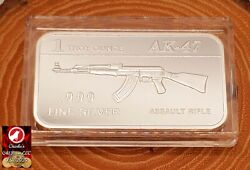 1 Troy Ounce Silver Bar .999 Fine Silver - Ak-47 Assault Rife Bullion Bar New