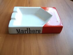 Vintage Marlboro Porcelain Cigarette Pack Style Ashtray 4.5 X 7 Inches