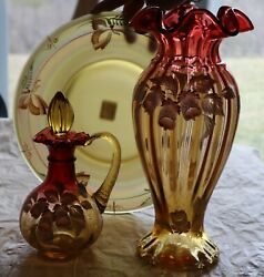 3 Pc Fenton Historic Collection 1999 Gold Amberina Glass Woodland Boutique