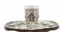 Fine 925 Sterling Silver Handmade Heavy 3d Leaf Ornate Swirl Cup And Tray
