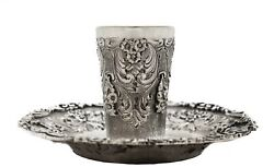 Fine Italian 925 Sterling Silver Handcrafted Heavy Floral Cup And Tray