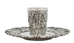 Italian 925 Sterling Silver Hand Wrought Detailed Floral Chased Cup And Tray