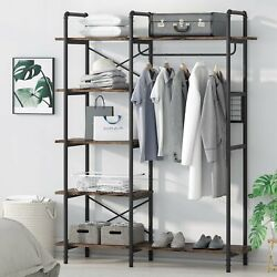 Open Wardrobe Closet with Hanging Rod Industrial Style Freestanding Garment Rack